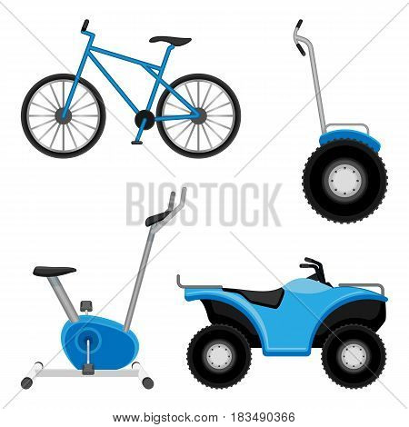 Exercise bike and bicycle, all-terrain vehicle, two wheeled segway isolated on white. Sport equipment set vector illustration.
