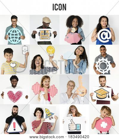Set of Diversity People with Multiple Icons Studio Collage
