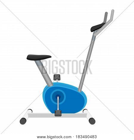 Exercise bike or orbitrek vector isolated on white. Sport equipment with pedals and saddle like bicycle, on which user replicates movements of bicycling