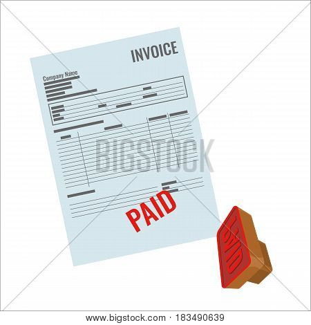 Invoice vector bill with red paid stamp close-up realistic illustration. Payment is made, rubber stamp near document
