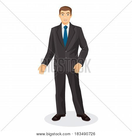 Handsome gentleman in elegant suit with blue tie vector illustration isolated on white. Adult male person in official cloth