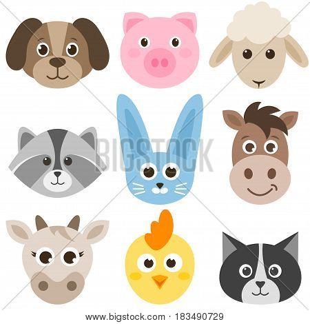 set of cute cartoon colorful farm animals