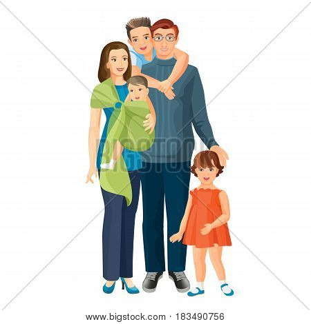 Big family of mother, father in glasses, baby boy, toddler girl and teenager son. Vector illustration of parents with children