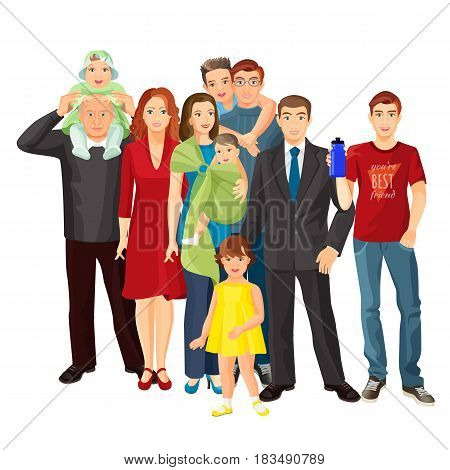 Big family vector illustration of mother, father, baby boy, toddler girl and teenage son, grandfather with lovely granddaughter, pretty uncle and aunt.