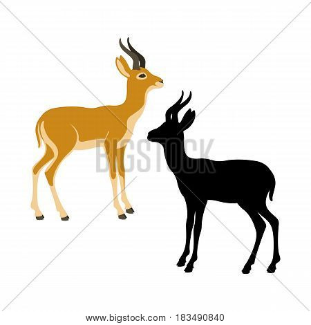 gazelle  dzeren  vector illustration style Flat silhouette