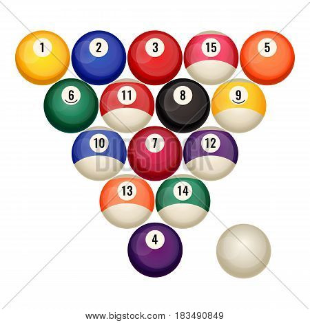 Pool billiard balls in starting position vector illustration isolated on white. Snooker game concept, triangle pyramid of round gambling objects