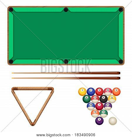 Snooker and pool gaming elements isolated on white. Billiard table, two woden cues, empty rack and balls in starting position vector illustration