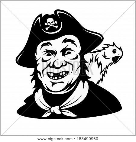 Funny smiling pirate with a parrot - vector illustration isolated on white