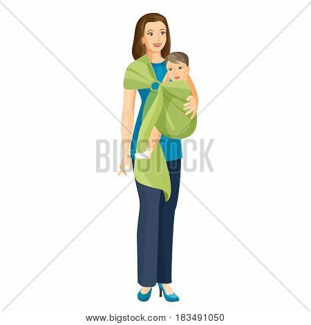 Woman carries little baby boy in sling shoulder-cloth vector illustration isolated on white. Toddler infant in green bundle