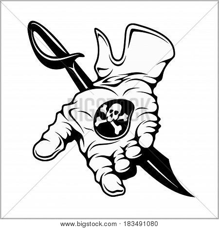 Pirate emblem - black mark. A hand holding a coin. Vintage black emblem. Vector illustration isolated on white
