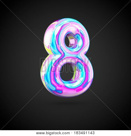 Glossy Holographic Number 8 Isolated On Black Background.