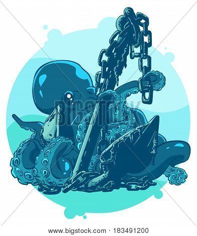 Cartoon octopus with an anchor. Color  vector illustration.