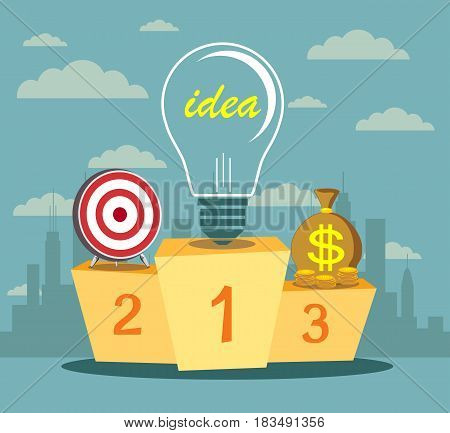 Pedestal with a light bulb in the first place symbolizing the power of the idea. Business assistant. Best podium place for inventions vector illustration
