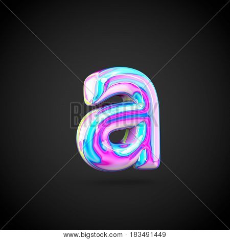 Glossy Holographic Alphabet Letter A Lowercase Isolated On Black Background.