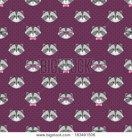pattern with cute cartoon raccoons with glasses