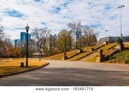View of Midtown Atlanta and the Piedmont park with stairs to the basketball court USA