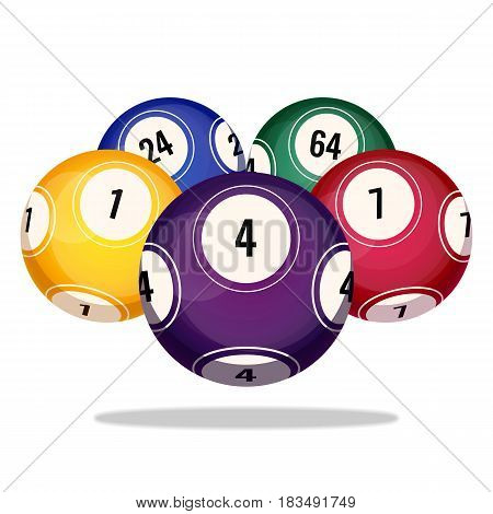 Bingo balls icons realistic vector illustration isolated on white background. Sphere objects for playing gambling games