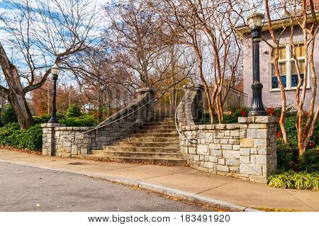 The stone stairs to Magnolia Hall in the Piedmont Park in autumn day Atlanta USA
