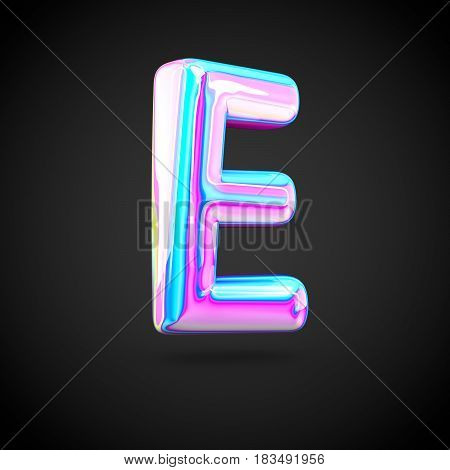 Glossy Holographic Alphabet Letter E Uppercase Isolated On Black Background.