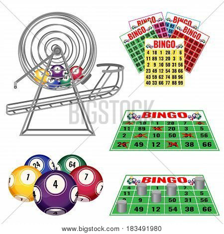 Lottery machine with balls inside, bingo cards and balls, tickets in gambling concept vector illustration. Wheel drum leisure.