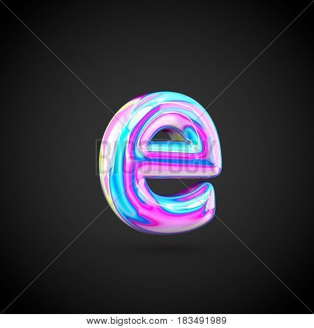 Glossy Holographic Alphabet Letter E Lowercase Isolated On Black Background.