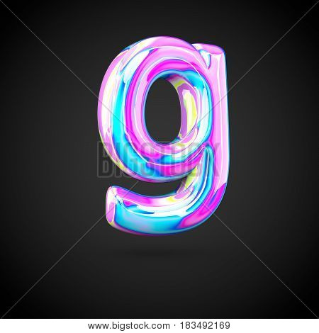 Glossy Holographic Alphabet Letter G Lowercase Isolated On Black Background.
