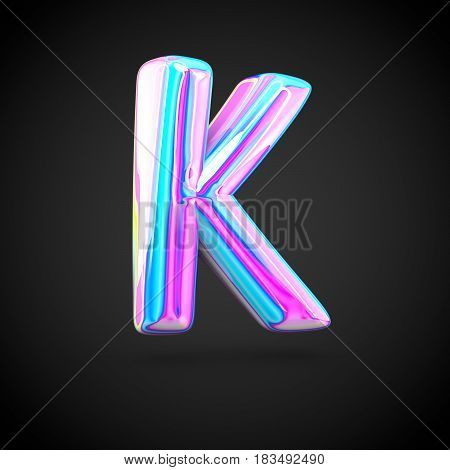 Glossy Holographic Alphabet Letter K Uppercase Isolated On Black Background.