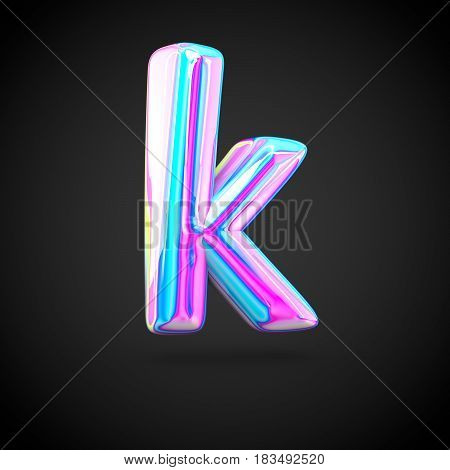 Glossy Holographic Alphabet Letter K Lowercase Isolated On Black Background.