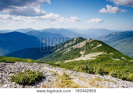 Great hills and picturesque scene of the alpine valley. Location place Carpathian, Ukraine, Europe. Wonderful summertime wallpaper. Awesome outdoor vacation. Explore the world's beauty and wildlife.