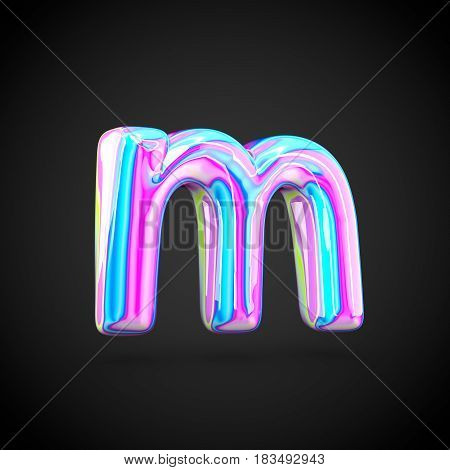 Glossy Holographic Alphabet Letter M Lowercase Isolated On Black Background.