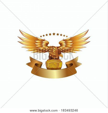 Golden Eagle emblem with ribbon. Heraldic eagle with spread wings template and the jewel in its claws.
