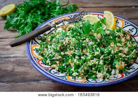 fresh bulgur salad with tomato onion and parsley