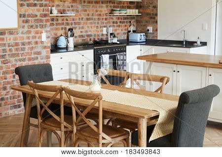 Stylish Home Interior With Open Plan Kitchen And Dining Area