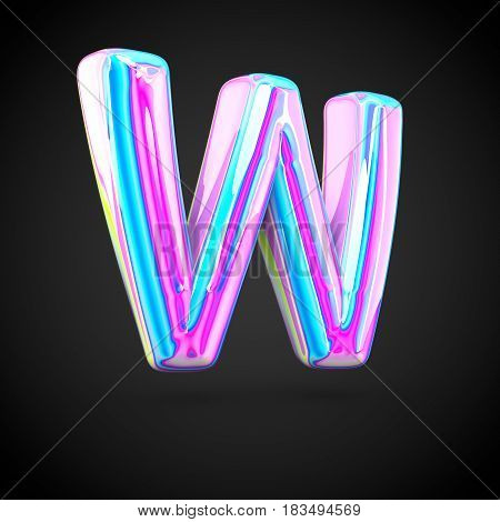 Glossy Holographic Alphabet Letter W Uppercase Isolated On Black Background.