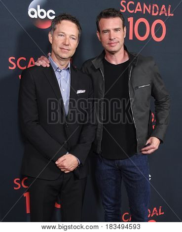 LOS ANGELES - APR 08:  George Newbern and Scott Foley arrives to the