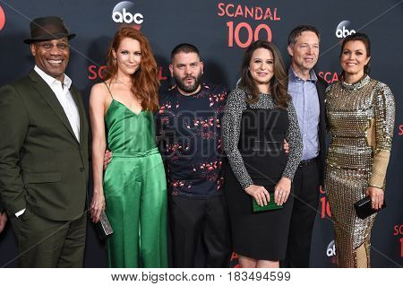 LOS ANGELES - APR 08:  Joe Morton, Darby Stanchfield, Guillermo Diaz, Katie Lowes, George Newbern and Bellamy Young arrives to the