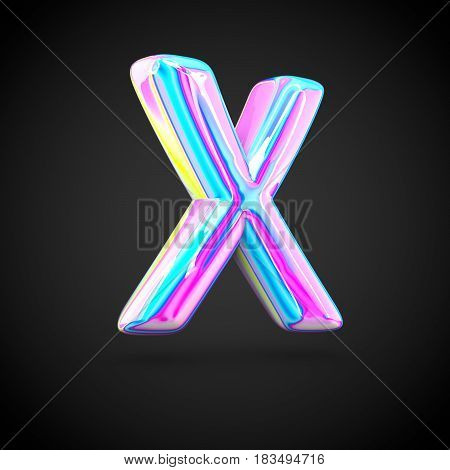 Glossy Holographic Alphabet Letter X Uppercase Isolated On Black Background.