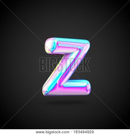 Glossy Holographic Alphabet Letter Z Lowercase Isolated On Black Background.