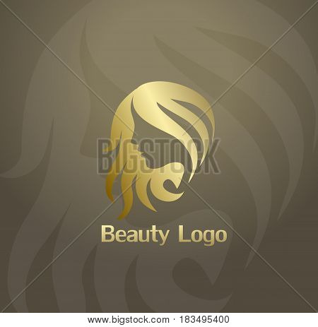 Beauty fashion icon or logo with woman face and hair. Vector Beauty logo. Cosmetic salon logo design