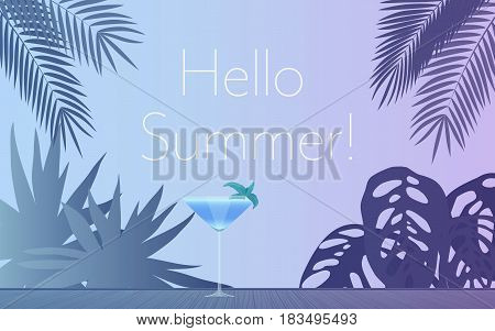 Cocktail Party Invitation Poster. Vector illustration of glass of alcohol cocktail in evening and palm leaves with Hello summer text