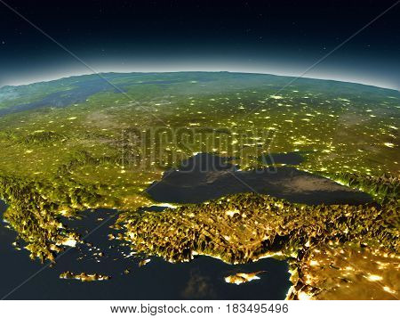 Turkey And Black Sea Region From Space In The Evening