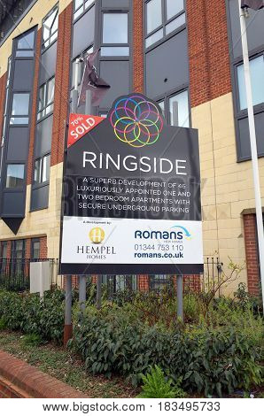 Bracknell, England - February 26, 2017: Sign outside the Ringside building in Bracknell, England advertising luxury apartments.Ringside is an example of property development in former office buildings