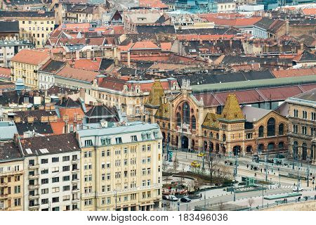 View from Gellert Hill to Pest side and square near Great Market Hall in Budapest, Hungary