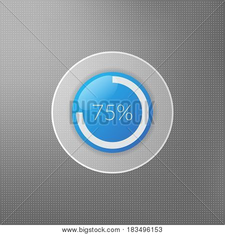 75 percent pie chart icon. Percentage vector infographics. Circle diagram symbol isolated on dotted background. Blue white and grey business illustration