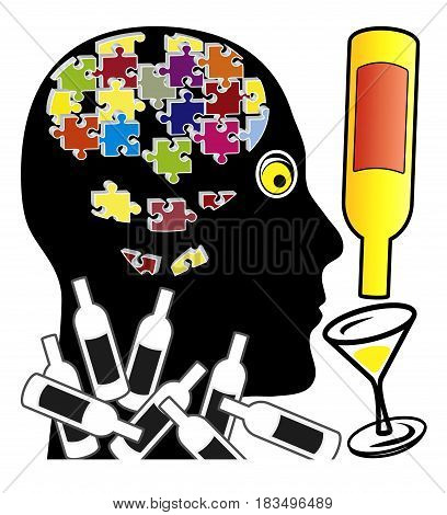 Alcohol makes you stupid. Man with memory loss due to alcoholic excess