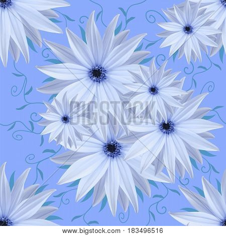 Seamless infinite background floral. White-blue flowers. For design and printing. Background of natural flowers.