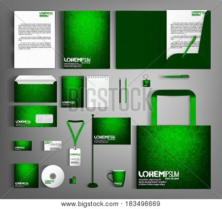 Green corporate identity template design with mathematical technological background. Business set stationery, brochure, card, letterhead, catalog, pennants. Suitable for brand advertising