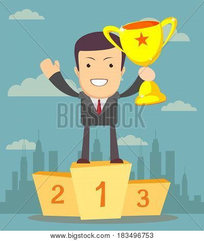 Businessman holding winner's cup. Stock vector illustration for poster, greeting card, website, ad, business presentation, advertisement design.