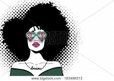 Wow pop art face. Sexy fashion woman with black afro curly hair and open mouth and sunglasses in form of heart with inscription summer in reflection. Vector hand-drawn background in pop art retro comic dots style.