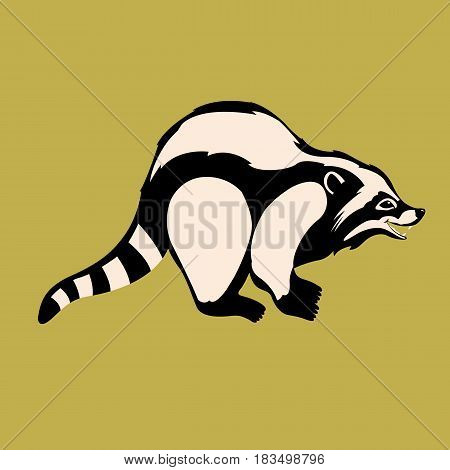 Raccoon vector illustration style Flat side profile